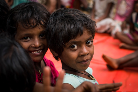 Rani (right) and Afrin (left), both are 8 and best friends. Both attend slum school frequently.