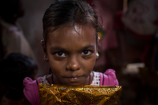 Barsa, 11. One of the most stuborn, however sweetest! Attends the slum school, but not frequently.  Many times children are taken back to rural villages with their families for long periods, for work and household tasks not being able to go to school. Barsa was one of them.