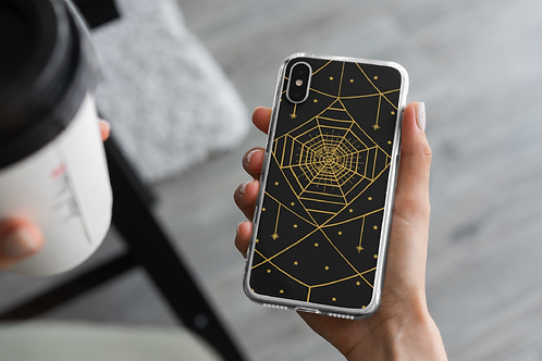 Gothic Spider Gold Web iPhone Case