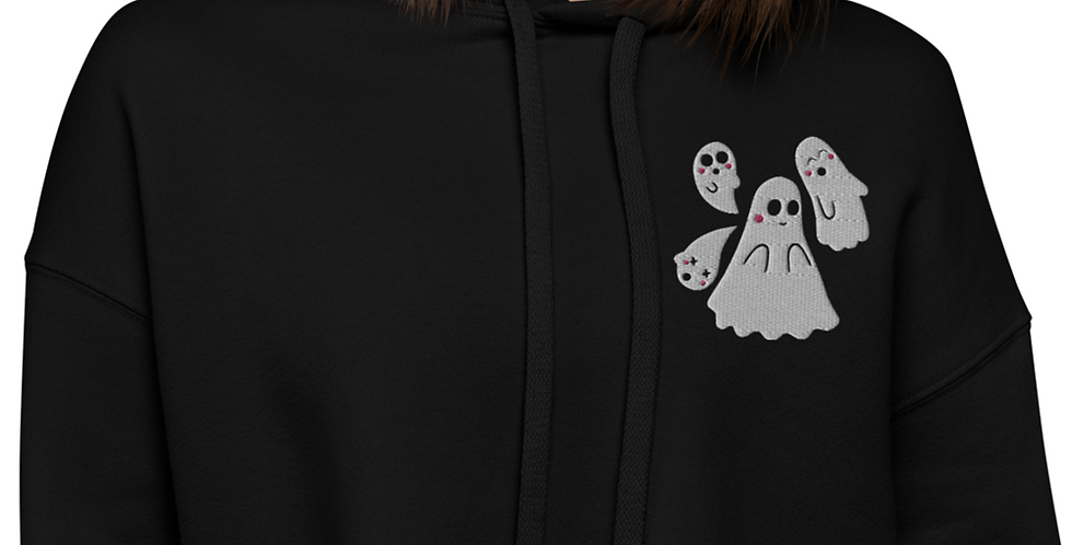Embroidered Kawaii Ghosts Crop Hoodie