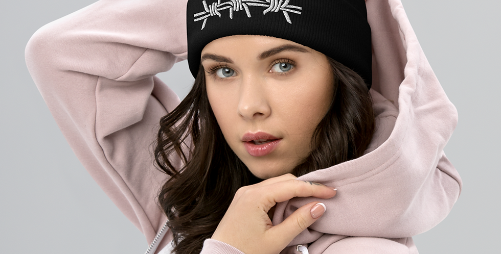 Barbed Wire Embroidery Beanie