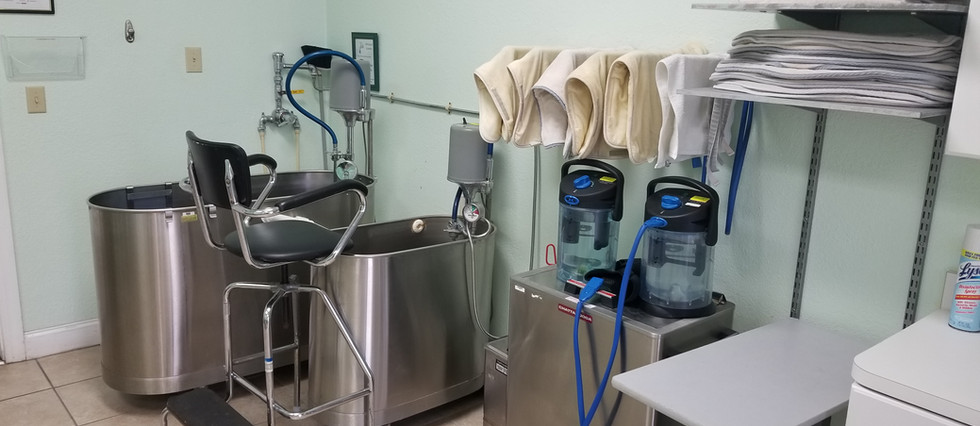 Our dual whirlpool and cold/hot packs station.