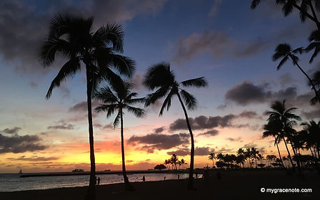 Magical Sunset and Palm Trees, Waikiki, Honolulu, Oahu, Hawaii