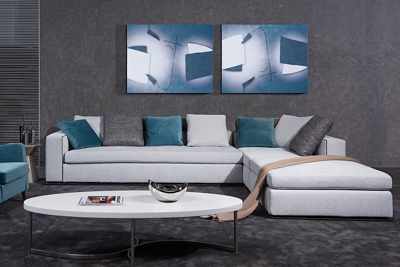 More Than You Expect Whitley Modern Grey Fabric Sectional Sofa