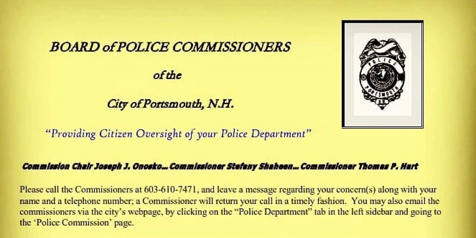 """Portsmouth, NH PD Special Police Commission Meeting: """"Providing Citizen Oversight Of Your Police Department."""""""