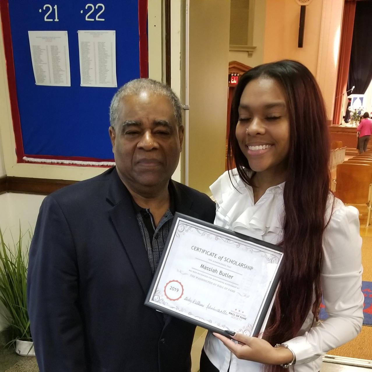 DCHOF President Stanley K. Williams with Scholarship Award Recipient, 2019