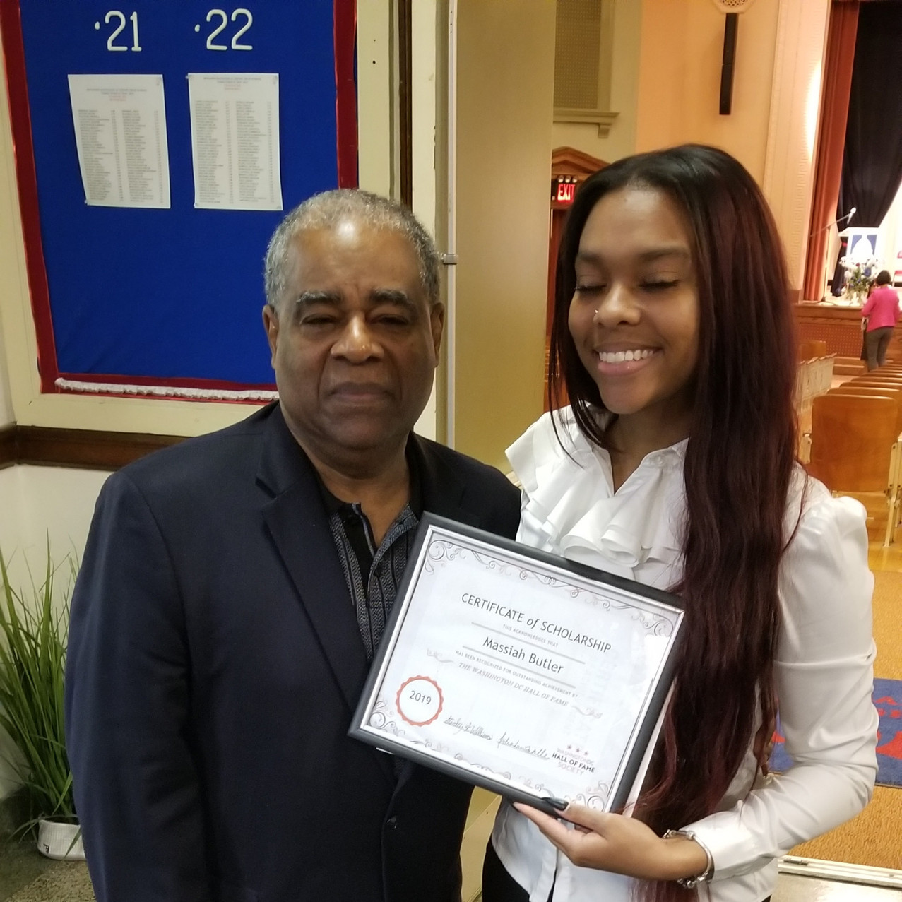 DCHOF President Stanley K. Williams with Scholarship Award Recipient, 2019