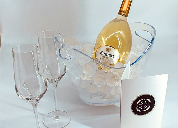 Ruinart Blanc de Blancs Champagne on ice - ready to serve