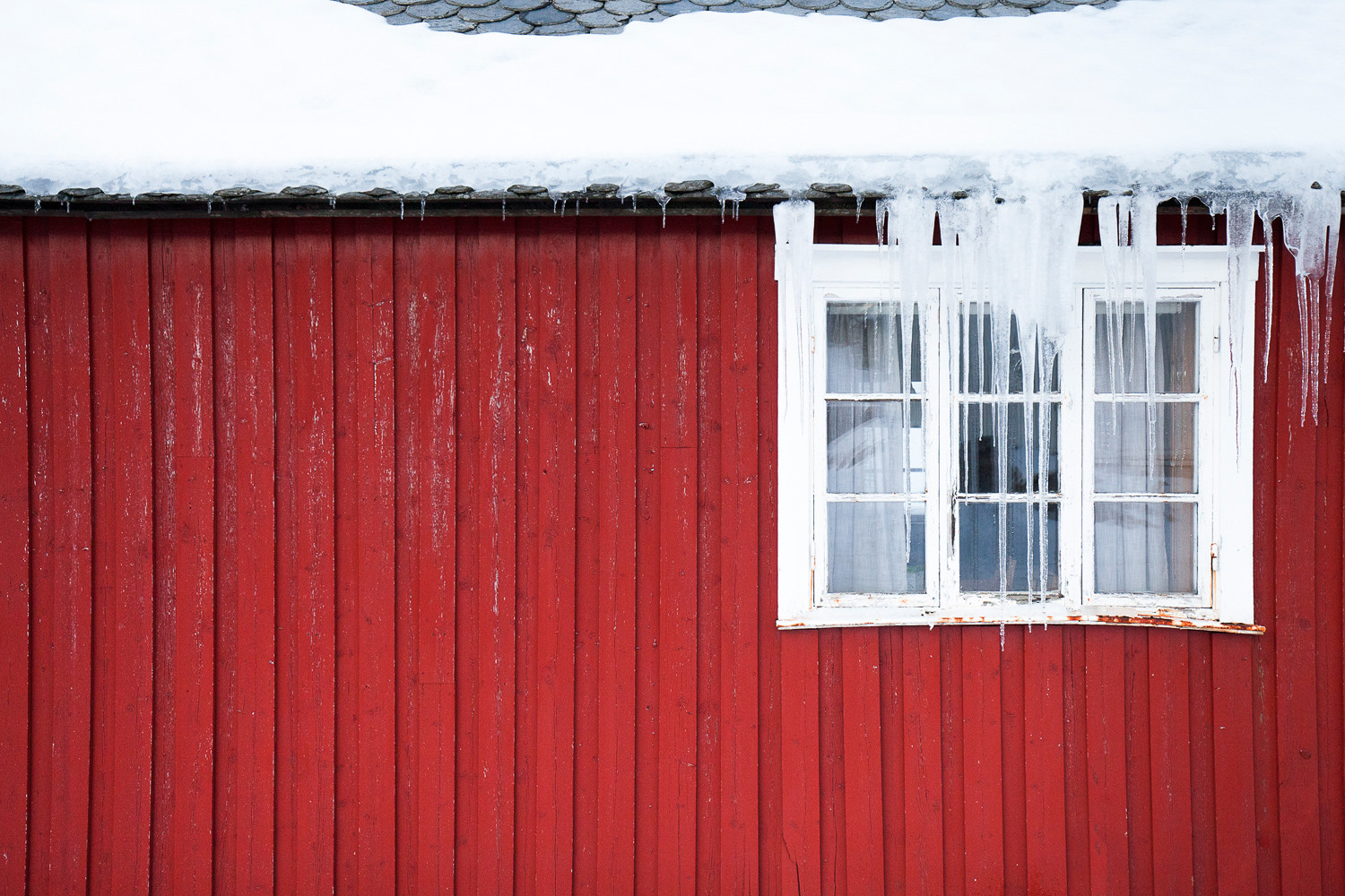 Red Wooden Boards in Hamnoy