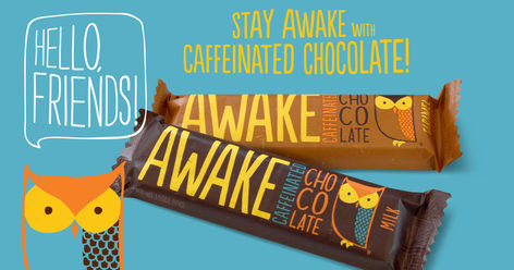 AWAKE CAFFEINATED CHOCOLATE packaging