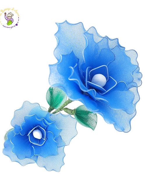 Fiore decorativo blu elettrico - doppio fiore