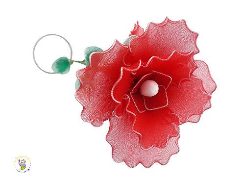 Fiore decorativo rosso - doppio fiore