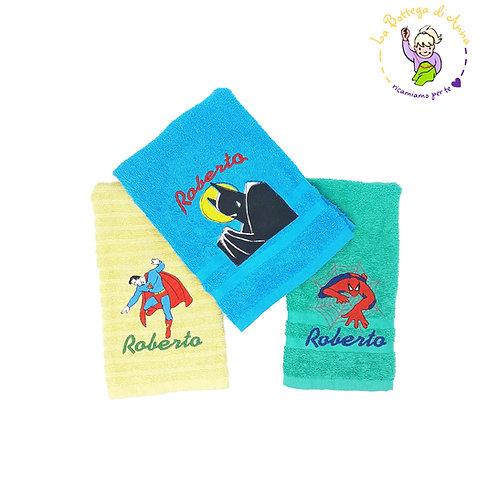 Asciugamano in spugna di cotone Super Eroi