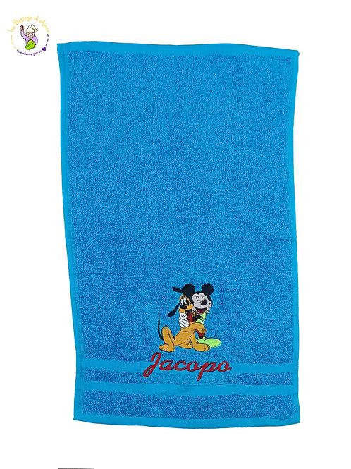 Asciugamano in spugna di cotone azzurro Topolino & Pluto personalizzato con nome