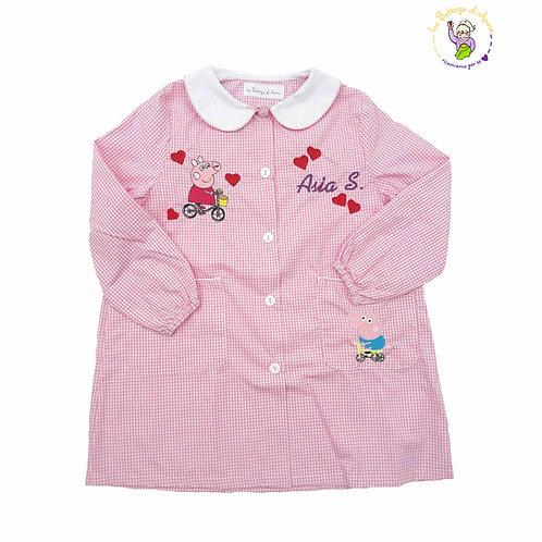 Grembiule asilo da bambina, rosa a quadretti bianchi, Peppa Pig