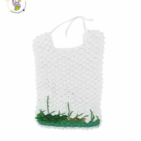 Bavaglino in cotone ad uncinetto, bianco con decorazioni nature