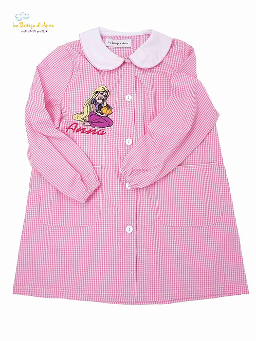 Grembiule asilo da bambina, rosa a quadretti bianchi