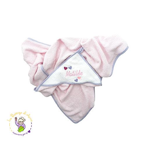 Accappatoio bimba rosa-bianco