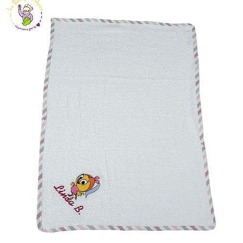 Asciugamano in spugna di cotone bianco con ricamo Priscilla