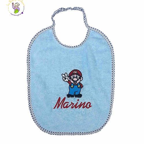 Bavaglino Super Mario con elastico o lacci e ricamo del nome