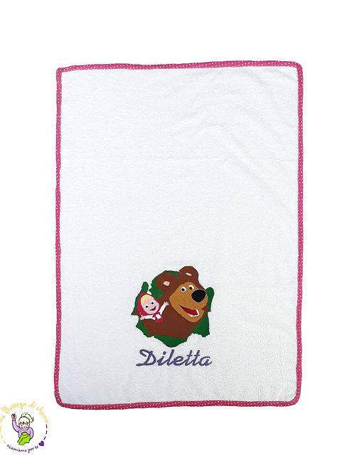 Asciugamano in spugna di cotone Masha & Orso