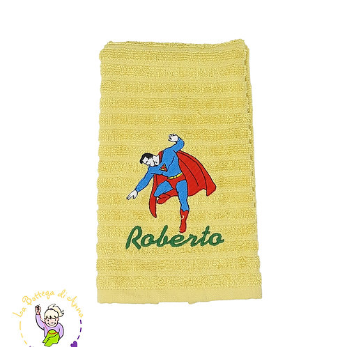 Asciugamano in spugna di cotone giallo con ricamo Superman