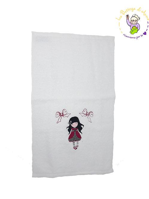 Asciugamano in spugna di cotone bianco con ricamo Gorjus