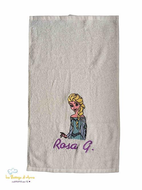 Asciugamano in spugna di cotone bianco con ricamo Frozen personalizzato con nome