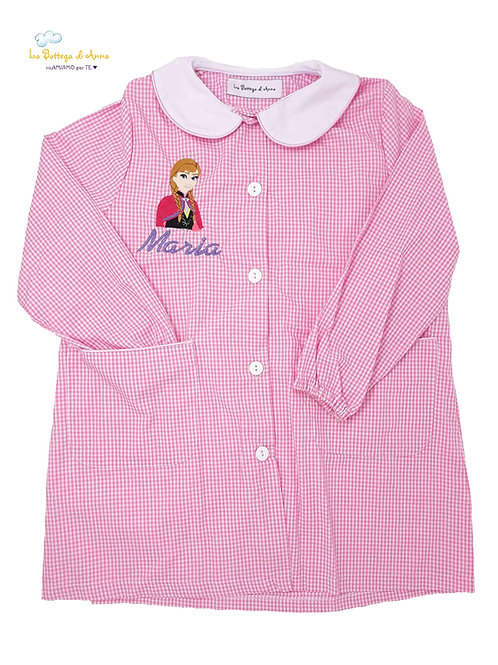 Grembiule asilo da bambina, rosa a quadretti bianchi, Anna Frozen