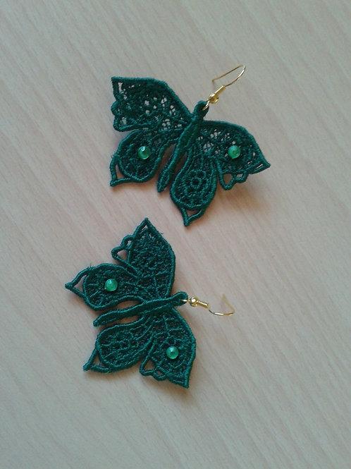 ORECCHINI FARFALLA verde smeraldo