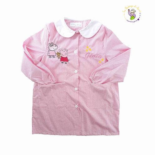 Grembiule asilo da bambina, rosa a quadretti bianchi, Peppa Pig e Susy Pecora