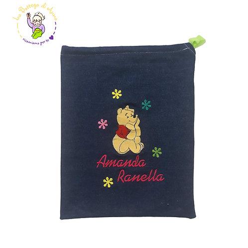 Sacchetto asilo in jeans con laccetto, ricamo Winnie the Pooh