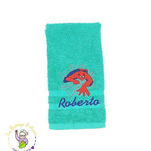 Asciugamano in spugna di cotone verde smeraldo con ricamo Spiderman