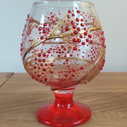 'Winter Berries' Hand Painted Brandy / Snifter Glass