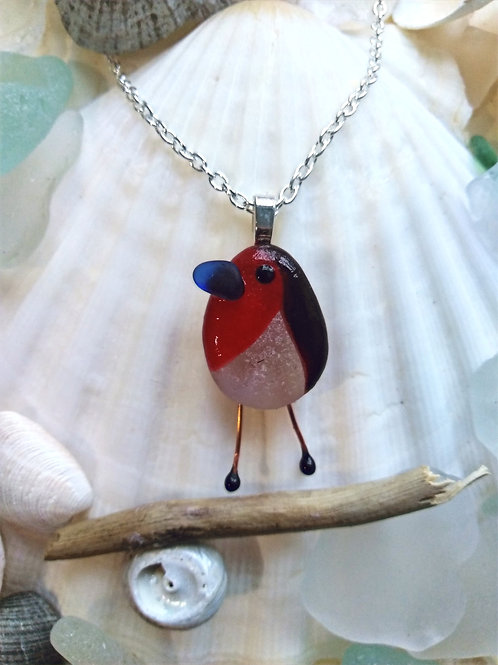 Hand Crafted 'Little Robin' Sea Glass Pendant