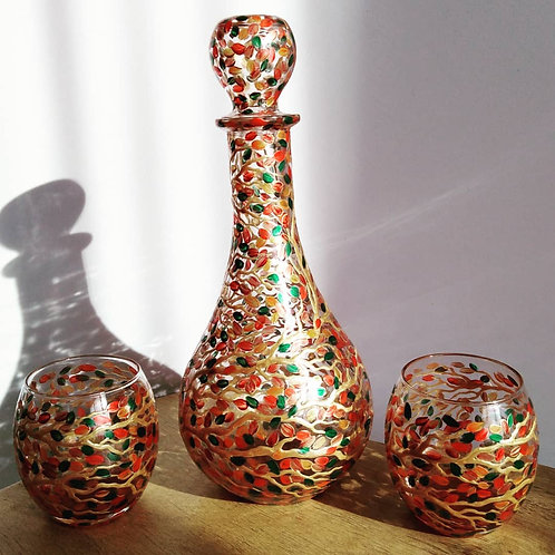 'The Autumn Tree' Hand Painted Art Decanter Set with 2 x Glasses