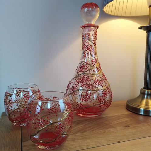 'Winter Berries' Hand Painted Art Decanter Set with 2 x Glasses