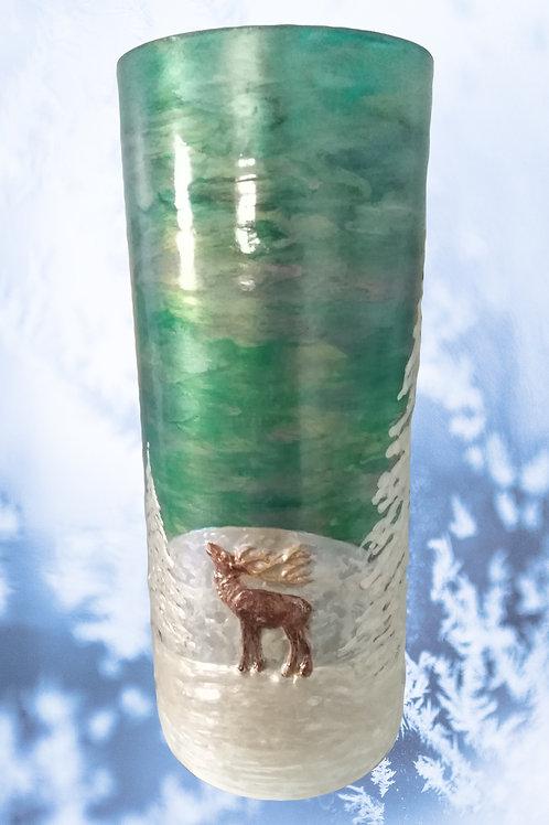 'Caribou' Hand Painted Art Cylinder Vase