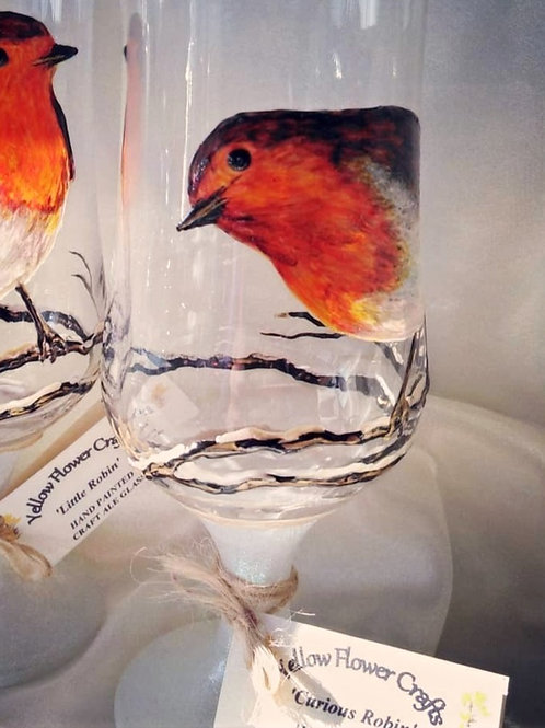 'Curious Robin' Hand Painted Craft Ale/Beer Glass