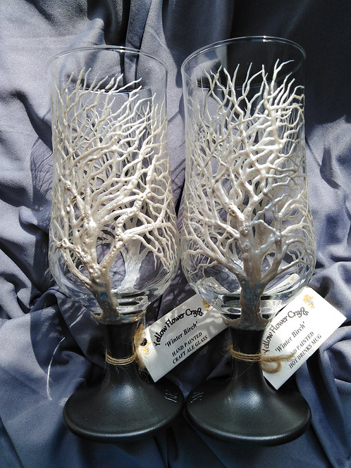'Winter Birch' Hand Painted Craft Ale/Beer Glass