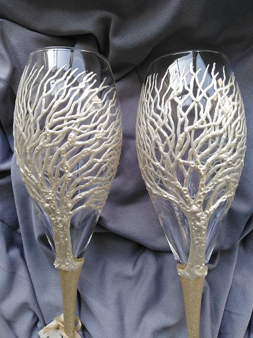 Set of 2 X Hand Painted 'Winter Birch' Premium Champagne Flute