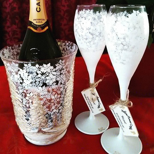 Set of 2 X Hand Painted 'Blizzard' Premium Champagne Flute