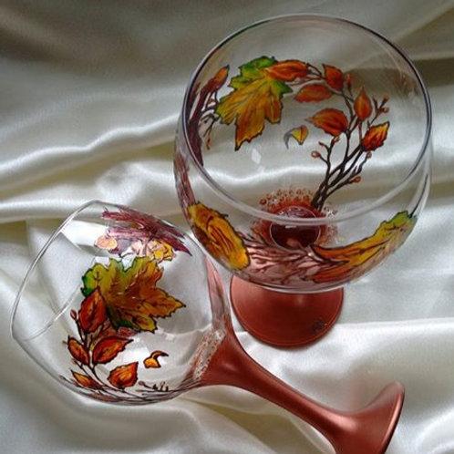 'Autumn Leaves' Hand Painted Art Gin Balloon