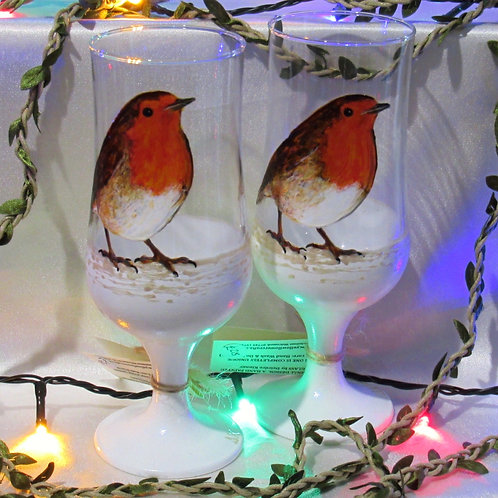 'Winter Robin' Hand Painted Craft Ale/Beer Glass