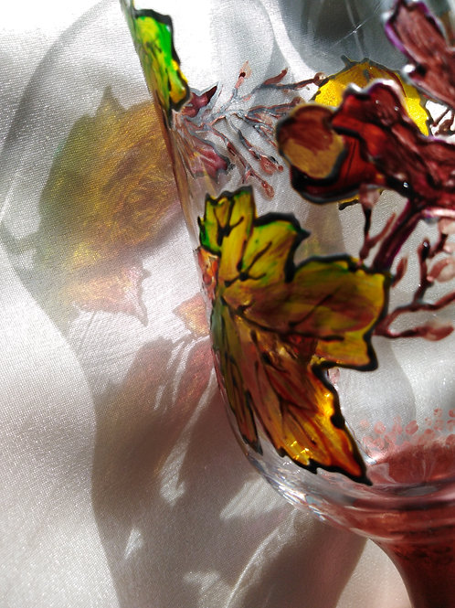 'Autumn Leaves' Hand Painted Craft Ale/Beer Glass