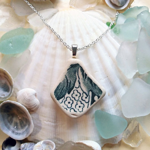 Hand Crafted 'Floral Fantasy' Sea Pottery Pendant