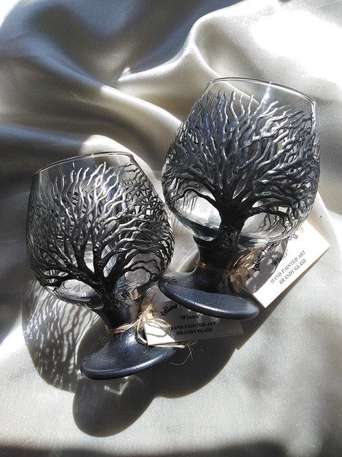 'Winter' Hand Painted Brandy / Snifter Glass
