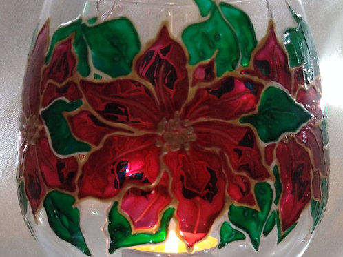 'Poinsettia' Hand Painted Stemmed Candle Glass