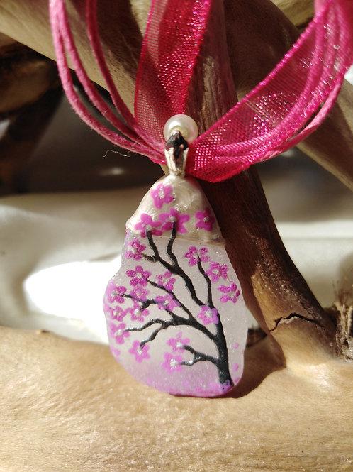 'Cherry Blossom' Hand Painted Sea Glass Pendant