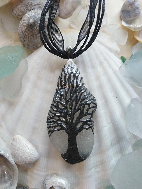 'Winter' Hand Painted Sea Glass Pendant